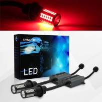 Syneticusa Error Free Canbus Ready Red LED Brake Parking Tail Stop Turn Signal Light Bulbs DRL Parking Lamp No Hyper Flash All in One With Built-In Resistors (3157)