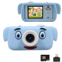 Kids Camera, Easy Hood 1080P HD 2.0 Inch IPS Screen Children Mini Video Camcorder Toy with 32GB SD Card and Soft Elephant Silicone Cover, Gift for 4-10 Years Old Boys Girls (Blue-Blue)