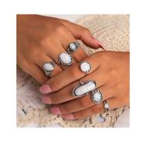 Campsis 7PCS Silver Opal Ring Sets Vintage Joint Stacking Rings Fashion Multi Size Ring Jewelry for Women and Girls