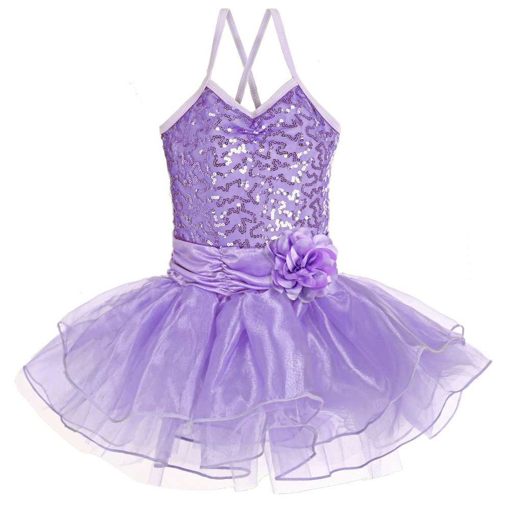 Leotard for Girls Ballet Dancing Camisole Shiny Sequined Costumes Princess Skirt Tutu 2-8 Years