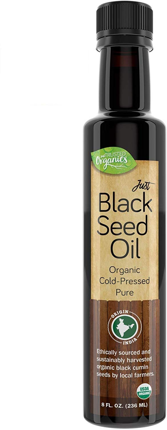 Trusted Organics - Organic Black Seed Oil Cold-Pressed Non-GMO Nigella Sativa Oil | Daily Dietary Supplement for Healthy Skin, Reduces Inflammation, Supports Appetite Control - 8 Fl oz Glass Bottle
