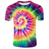 Losturban Men's Tie Dye 3D Printed Graphic Polyester Summer T-Shirt