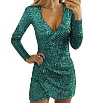 BOMBAX Sexy Women Sparkly Sequin Party Midi Dress V-Neck Cocktail Slit Bodycon Prom Gown