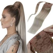 LaaVoo Clip in Blonde Ponytail Hair Extensions Long Human Hair Ponytail Dark Ash Blonde Fading to Platinum Blonde Wrap Around Ponytail Hair Extensions 100g 20 Inch