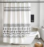 Uphome Fabric Shower Curtain Black and White Geometric Pattern Cloth Shower Curtain Set with Hooks Chic Boho Bathroom Decor,Heavy Duty Waterproof, 60x72