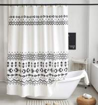 Uphome Fabric Shower Curtain Black and White Geometric Pattern Cloth Shower Curtain Set with Hooks Chic Boho Bathroom Decor,Heavy Duty Waterproof, 72x72