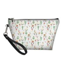 Horeset Portable Women Cosmetic Bag Print Alpaca Leather Zipper Makeup Bag Travel Purse Toiletry Pouch