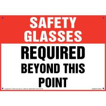"""Safety Glasses: Required Beyond This Point Sign - J. J. Keller & Associates - 14"""" x 10"""" Permanent Self Adhesive Vinyl with Rounded Corners - Complies with OSHA 29 CFR 1910.145 and 1926.200"""