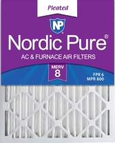 Nordic Pure 14x20x2 MERV 8 Pleated AC Furnace Air Filters 3 Pack