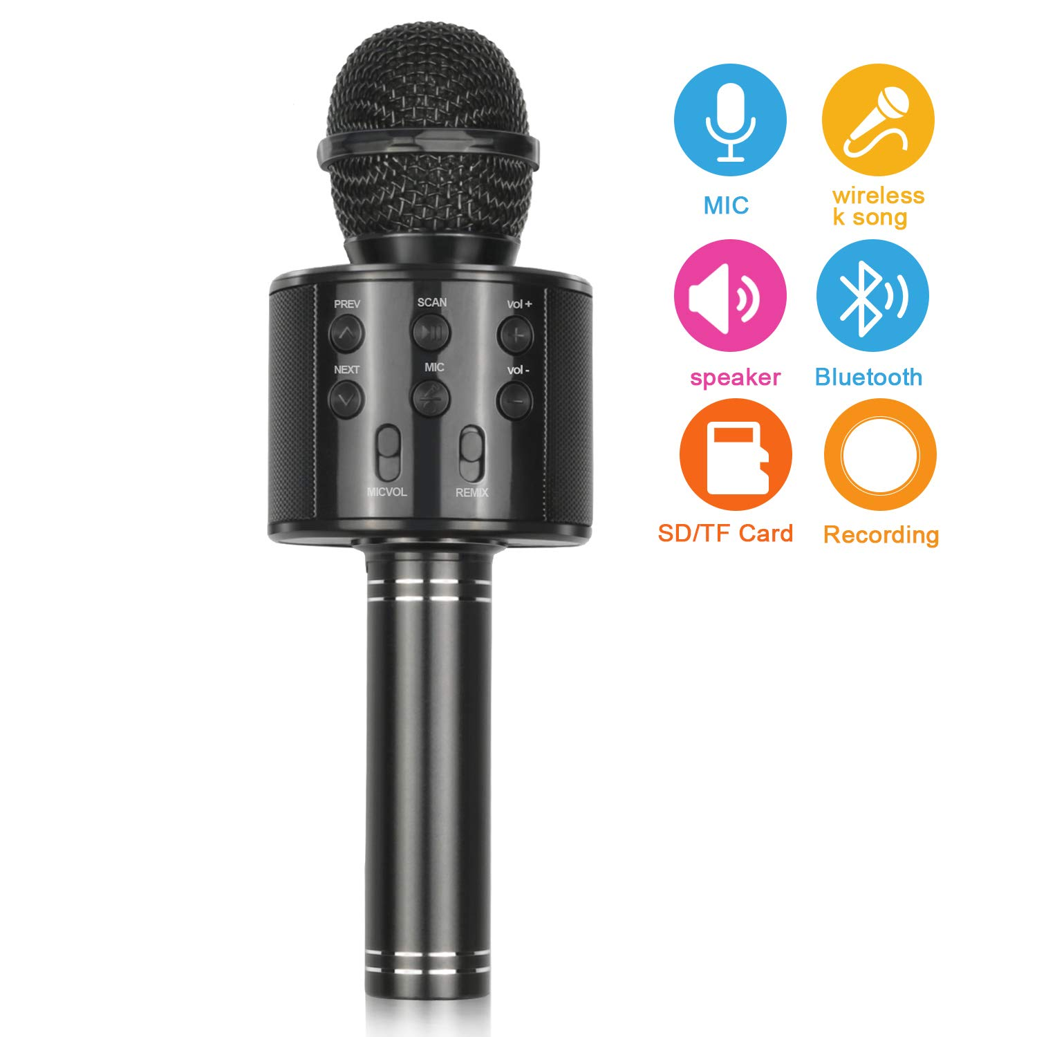 Popular Toys for 4-12 Year Old Girls, Touber Wireless Bluetooth Microphone for Kids Music Toy for 5-11 Year Old Kids Girl Party Gift Age 4-12 Girl