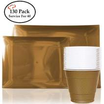 Tiger Chef 130-Pack Gold Heavy Duty Rectangular Disposable Party Supplies Set. Service for 40 Guests includes 40 9-inch Dinner Plates, 40 7.5-inch Dinner Plates 50 9-Ounce Cups