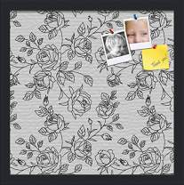 PinPix ArtToFrames 16x16 Custom Cork Bulletin Board. This Floral Design Black Rose Bush Pin Board Has a Fabric Style Canvas Finish, Framed in Satin Black (PinPix-164-16x16_FRBW26079)