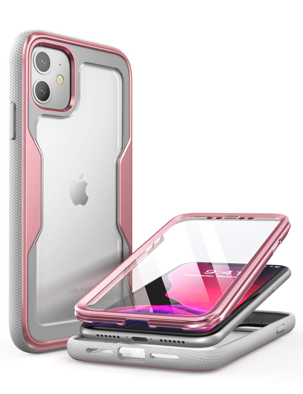 i-Blason Magma Case for iPhone 11 6.1 inch (2019 Release), Heavy Duty Protection, Full Body Bumper Protective Case with Built-in Screen Protector (Rose Gold)