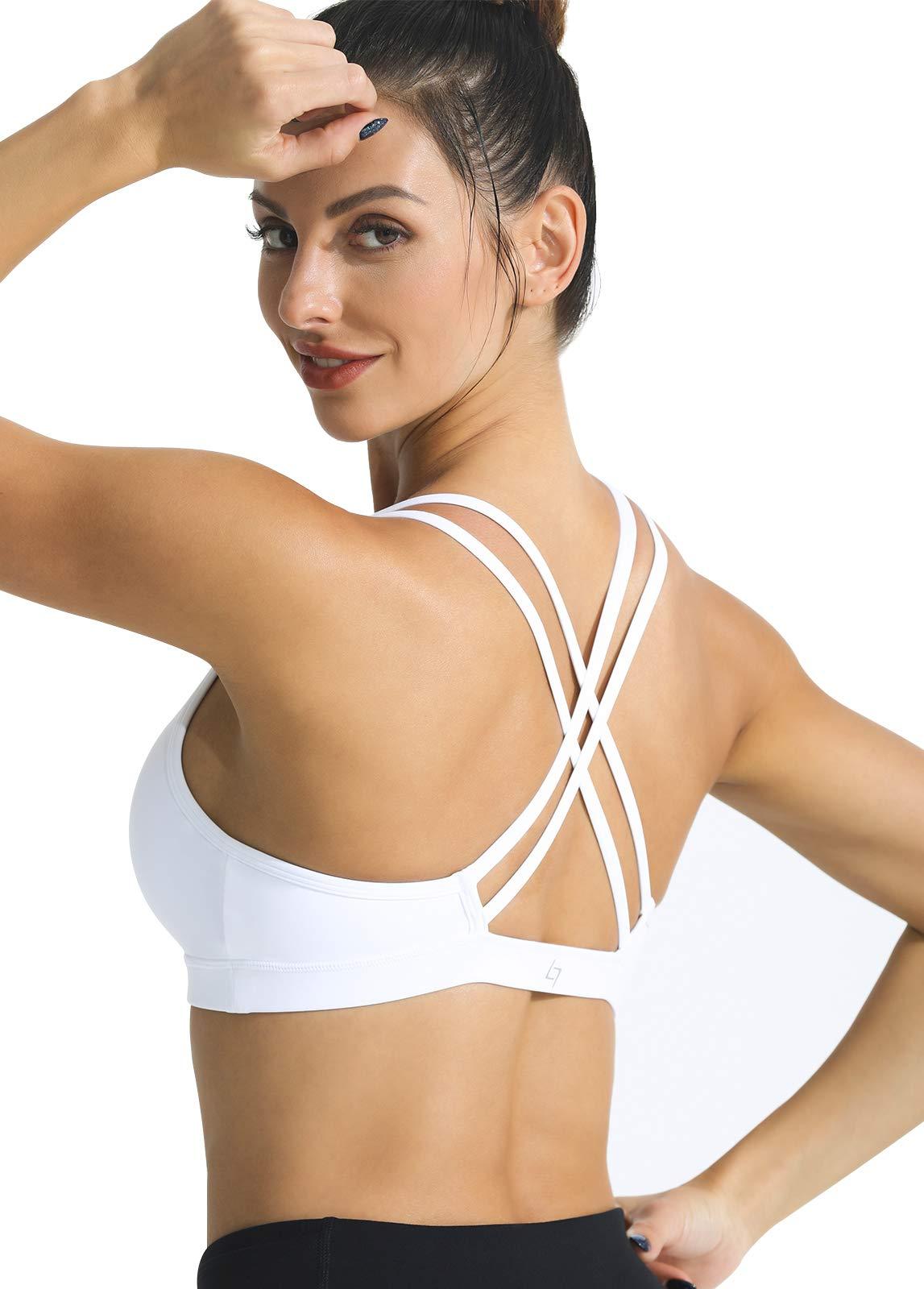 FITTIN Strappy Sports Bra - Crisscross Back Sports Bras for Women Wirefree Bra for Workout Yoga Tops