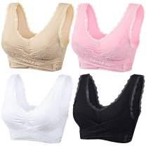 sekesin Women's Seamless Sports Lace Front Closure Bra Wireless Yoga Running Bras …