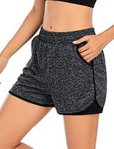 SLTY Women Double Layer Sport Shorts 2 in 1 Workout Running Shorts Active Yoga Gym Sport Shorts with Pocket