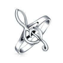 Music Student Teacher Bar Measure Treble Clef Note Ring For Teen For Women 925 Sterling Silver Thin Band