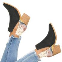 YOMISOY Womens Ankle Boots Pointed Toe Slip On V Cutout Snakeskin Two Tone Chunky Stacked Mid Heel Booties