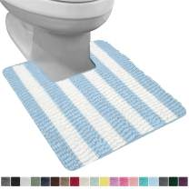 Gorilla Grip Original Shaggy Chenille Square U-Shape Contoured Mat for Base of Toilet, 22.5x19.5 Size, Machine Wash and Dry, Plush Absorbent Contour Carpet Mats for Bathroom Toilets, Sky Blue White