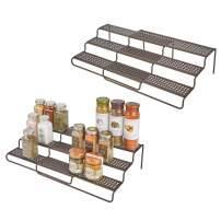 "mDesign Adjustable, Expandable Kitchen Wire Metal Storage Cabinet, Cupboard, Food Pantry, Shelf Organizer Spice Bottle Rack Holder - 3 Level Storage - Up to 25"" Wide, 2 Pack - Bronze"
