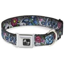 Dog Collar Seatbelt Buckle Love Love Gray 16 to 23 Inches 1.5 Inch Wide
