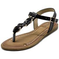 Ollio Women's Shoes T-Strap Burnish Fade Vintage Zori Flats Sandals NEWBN14