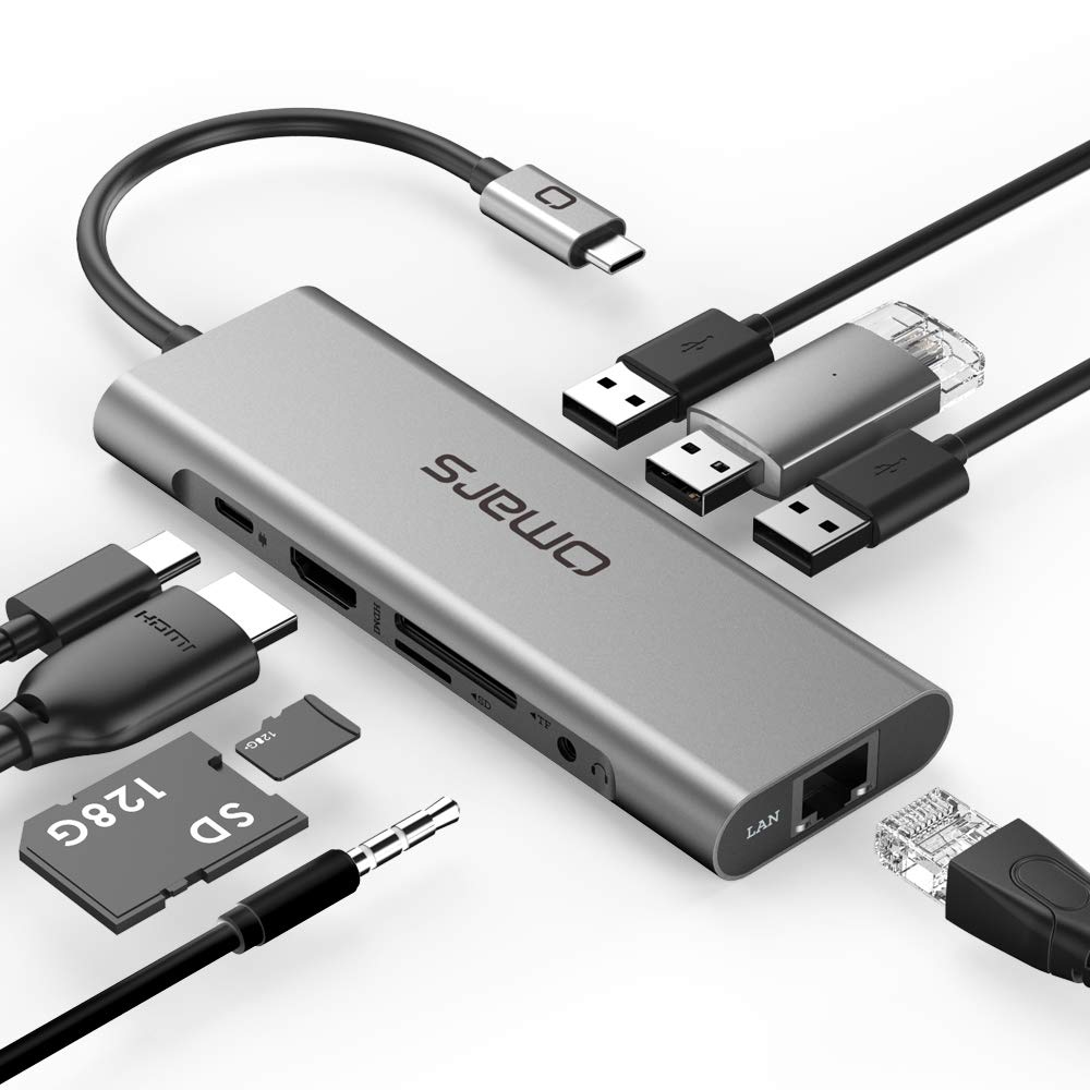 Omars USB C Hub 9-in-1 Docking Station with Ethernet Port, 4K USB C to HDMI, 3 USB 3.0 Ports, USB-C Power Delivery, 3.5mm Audio Port, SD/TF Cards Reader for MacBook/Pro/Air and Type C Windows Laptops