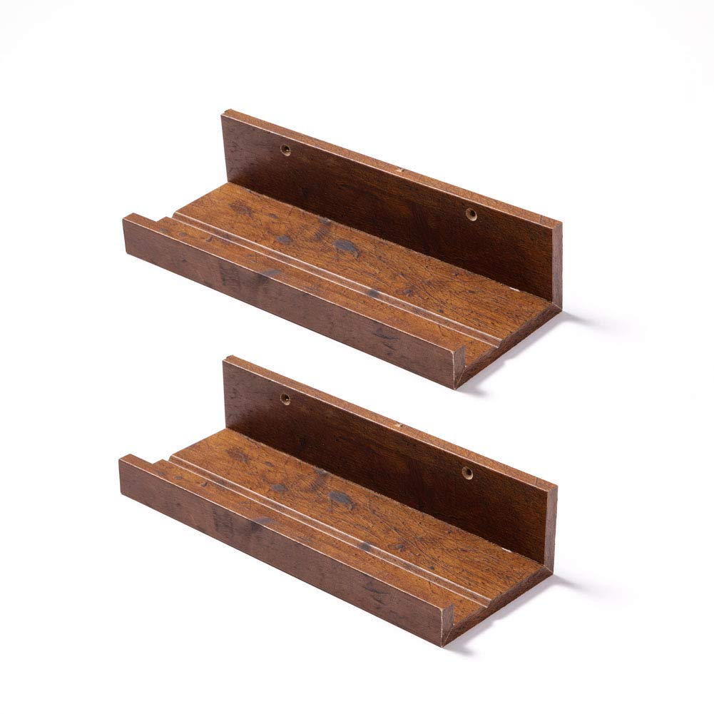 Muzilife Floating Picture Ledge Display Shelves Decorative Wall Mounted Storage Shelf Home Decor Set of 2 for Bedroom, Bathroom, Living Room, Kitchen (12 Inches Length, Honey)
