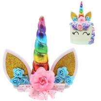 Unicorn Cake Topper Handmade Iridescent Unicorn Horn Ears and Flowers Cake Decor(Rainbow Color)