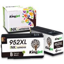 Kingjet Compatible Replacements for 952, 952XL Ink Cartridge Work with Officejet Pro 7740 8210 8216 8702 8710 8715 8720 8725 8730 8740 Printers, 2 Black with Newest Updated Chips in April, 2020