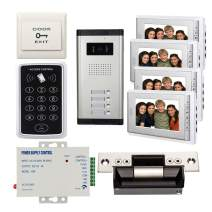 """Wired 7"""" LCD Monitor Video Door Phone Kits, 4 Units Monitor & 1 Unit Camera Apartment Video Doorbell intercome Systems +Password Controller+USA Strike Lock+110V Power Supply+Exit Button"""