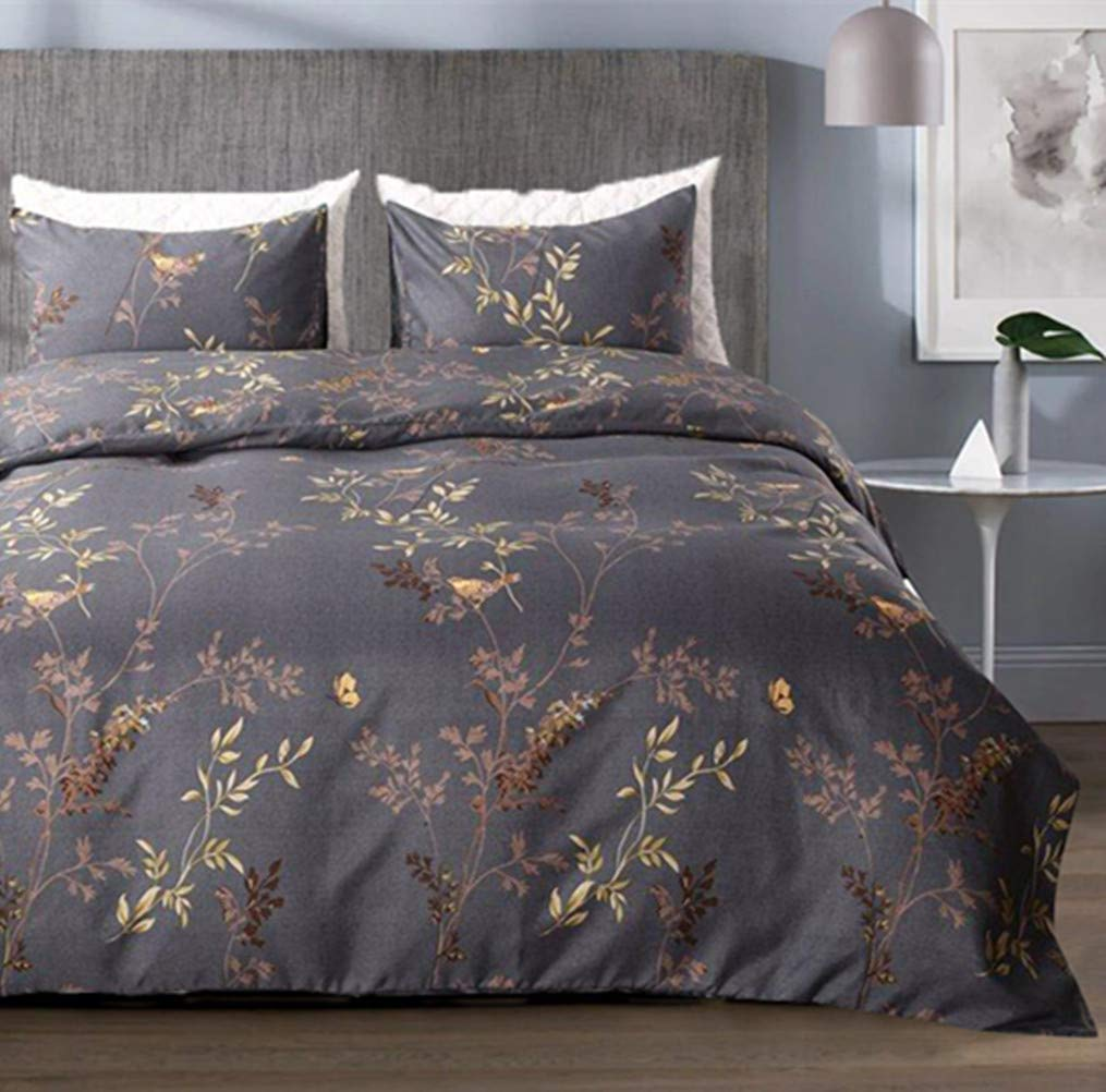 Tebery Ultra Soft Microfiber Duvet Cover Set with Zipper Closure Charcoal Grey and Gold Tree Pattern (King)