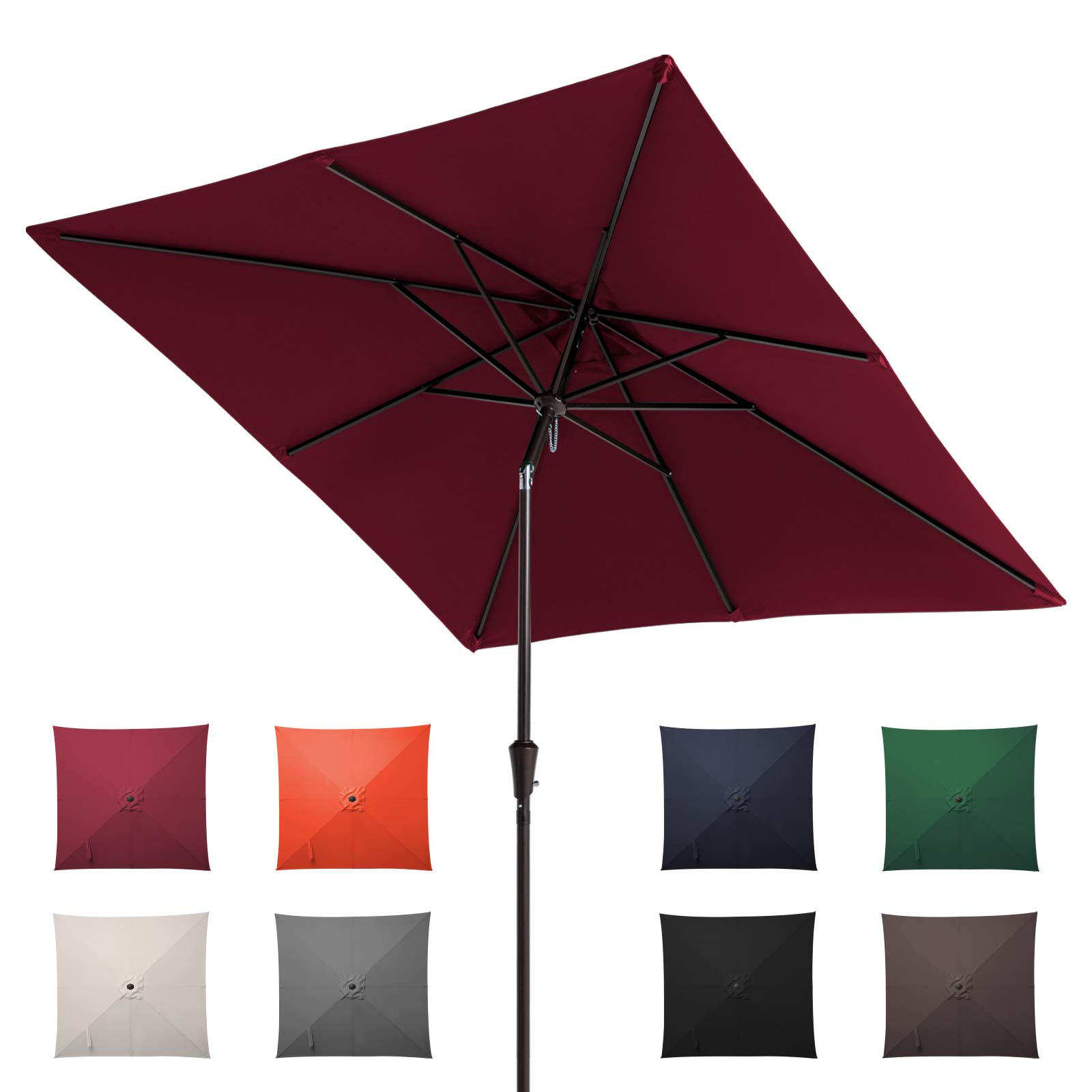 ROWHY Square 8×8ftPatio Table Market Umbrella Outdoor Portable Garden Sunshade with Push Button Tilt and Crank Lift System UV Protection Waterproof Sunproof for Lawn Garden, Deck, Backyard (Red)