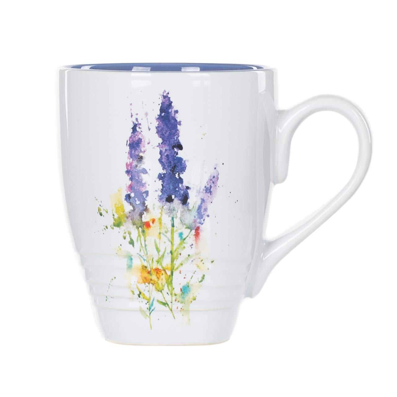 Dean Crouser Lavender Herbal Floral Watercolor Blue 16 ounce Glossy Ceramic Stoneware Mug