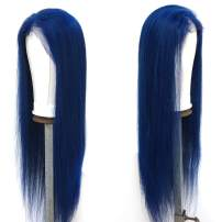 Nobel Hair Blue Color Lace Front Human Hair Wigs for Black Women Pre Plucked Peruvian Virgin Human Hair Straight Wig with Baby Hair On Sale 12Inch