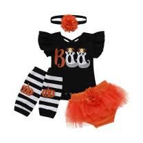 Infant Toddler Baby Girl Halloween Christmas Outfits Nightmare Skull Romper Bodysuit Tutu Dress Leg Warmers Clothes Set