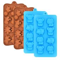 Chocolate Molds Candy Jelly Mold Silicone - WARM TIME Hard Candy Gummy Molds and Silicone Ice Cube Tray Non-Stick Including Dinosaurs, Bear, Lion and Hippo, Food Grade Silicone Molds