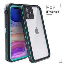 MUZUSUPI iPhone 11 Waterproof Case IP68 Full-Body Protect Rugged Slim Crystal Case with Built-in Screen Protector Waterproof Snowproof Shockproof Dirtproof Covers (Aqua Blue)