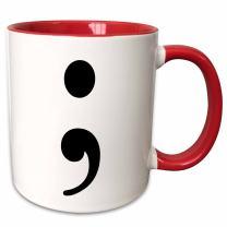 3dRose 223961_5 Semicolon Mug, 11oz, Black/Red