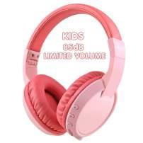 Votones Wireless Kids Headphones Girls, 85dB Volume Limiting Foldable Kids Headphones Over The Ear Headphone for PC Tablet iPad iPhone Smartphone Calling Music Game Headphone (red)