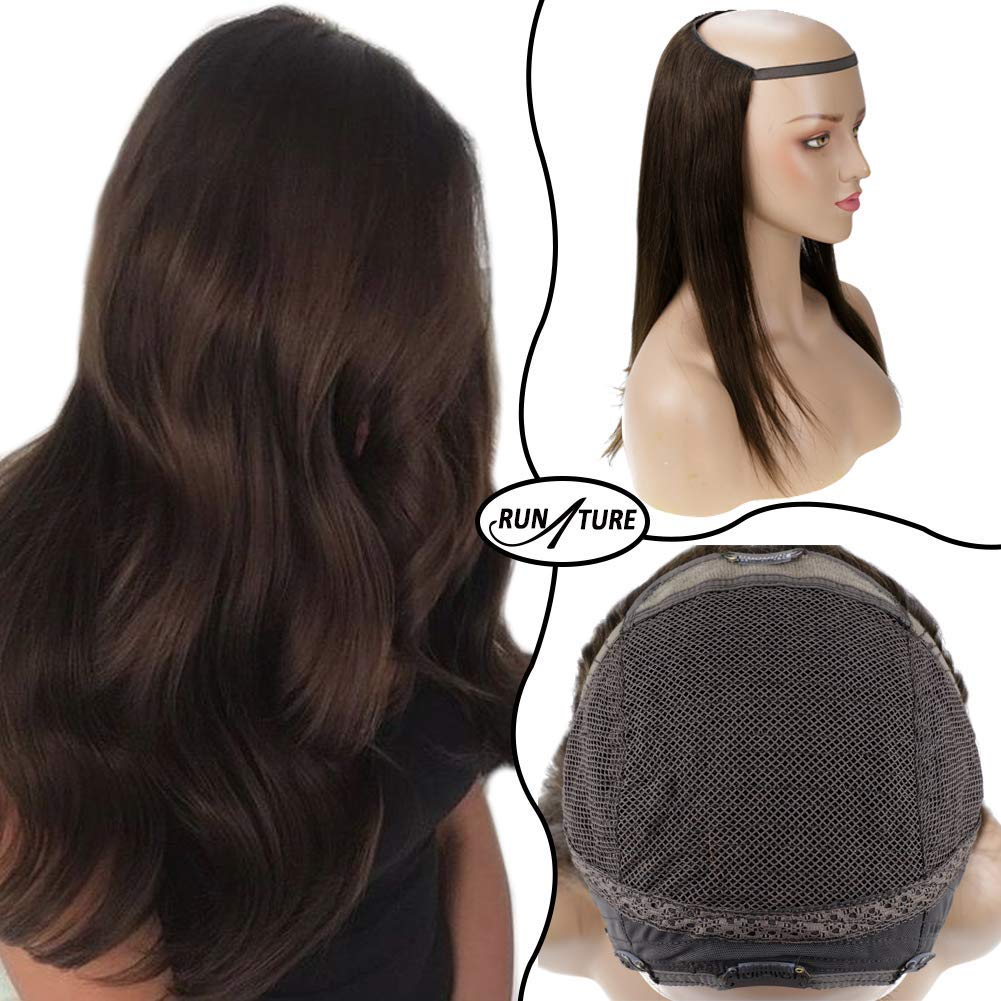 Runature U Part Half Wig Color 2 Darkest Brown Color U Part Wig 160 Gram 22 Inches Half Wig Real Hair Extensions For Women Half Wigs Human Hair Clip In Extentions
