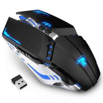 TENMOS T12 Wireless Gaming Mouse Rechargeable, 2.4G Silent Optical Wireless Computer Mice with Changeable LED Light Compatible with Laptop PC, 7 Buttons (Black)