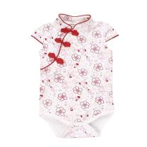 Fairy Baby Baby Girl Cheongsam Dress Short Sleeve Formal Qipao Bodysuit,12-18M,Red Floral