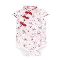 Fairy Baby Baby Girl Cheongsam Dress Short Sleeve Formal Qipao Bodysuit,12-18M,Red Floral