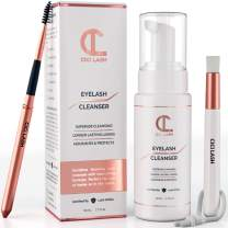 Lash Shampoo Foaming Cleanser & Brush (50ml)   Gentle Foam Wash For Eyelash Extensions   Paraben & Sulfate Free   Eyelid Blepharitis Wash & Makeup/Oil Remover   For Home Care & Beauty Salon Supplies
