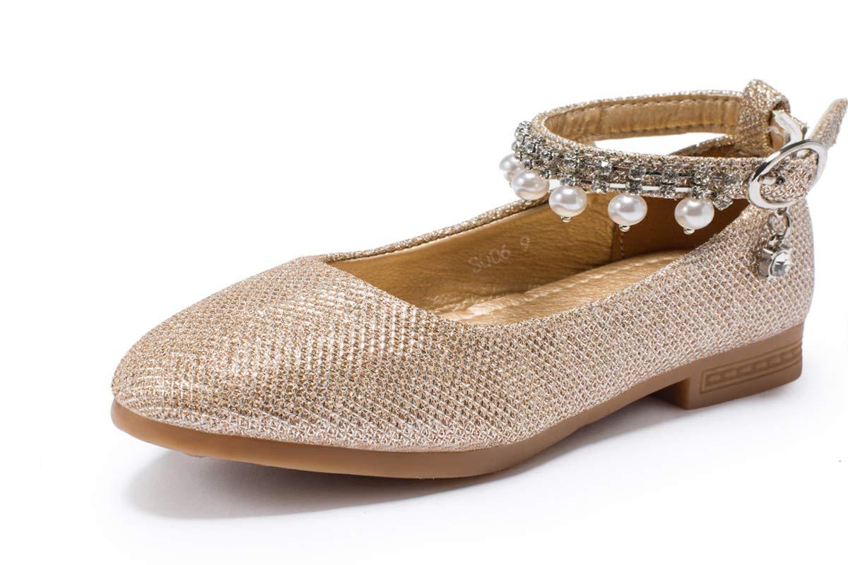 MAXIUSS Toddler/Little Kid Girls Gold Glitter Party Wedding Flower Girl Princess Ballerina Mary Jane Flat Dress Shoes