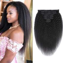 """ALISFEEL Real Human Hair Yaki Kinky Straight Clip In Hair Extensions 100% Virgin Remy Human Hair 8 pieces 120gram/set 10A Grade for Thin Hair Natural Color for Black Women (20"""", Kinky Straight)"""