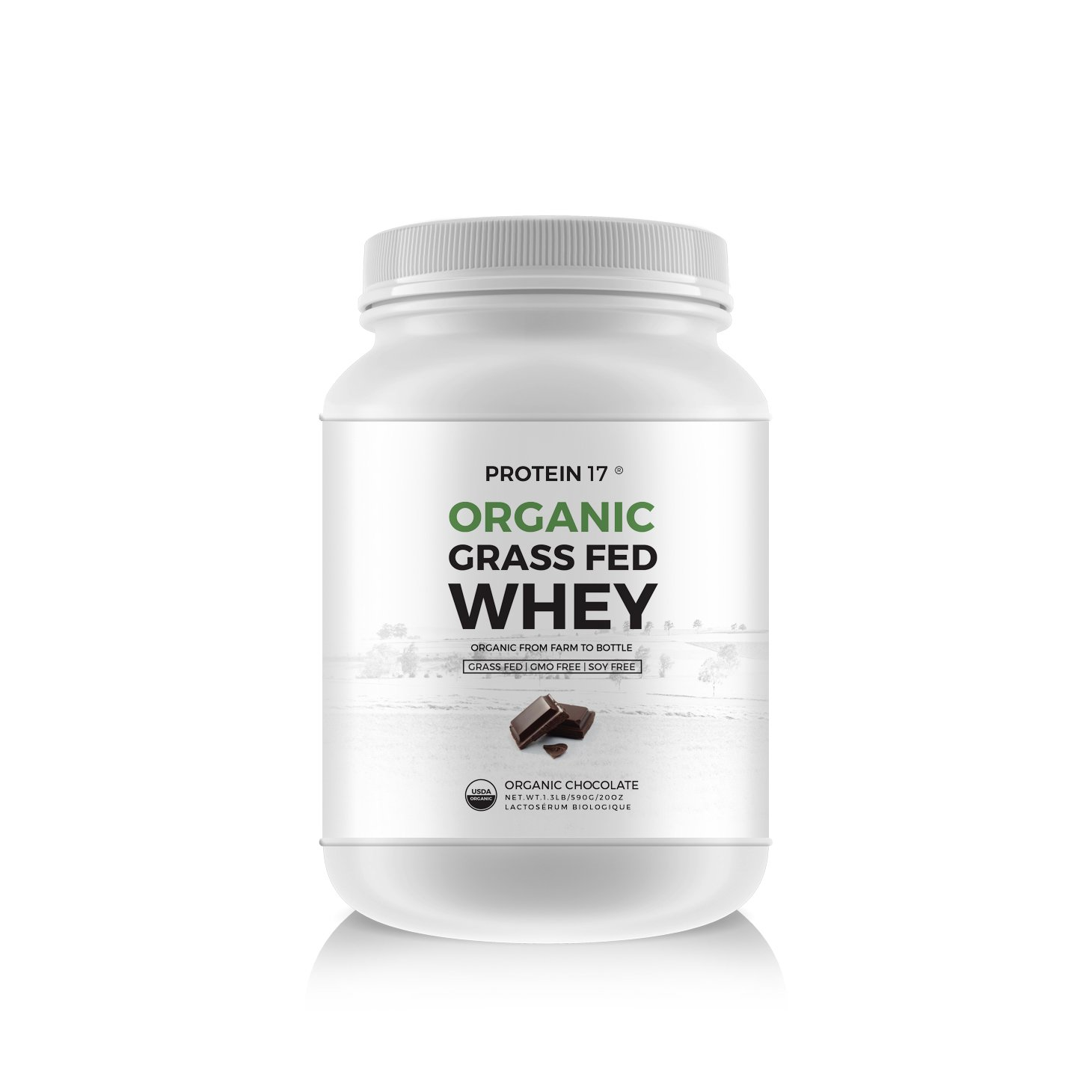 New and Unique - The Ultimate Organic, Grass-Fed Whey Protein, Organic Chocolate, 1.3lb - Protein 17® - Excellent Value by Weight