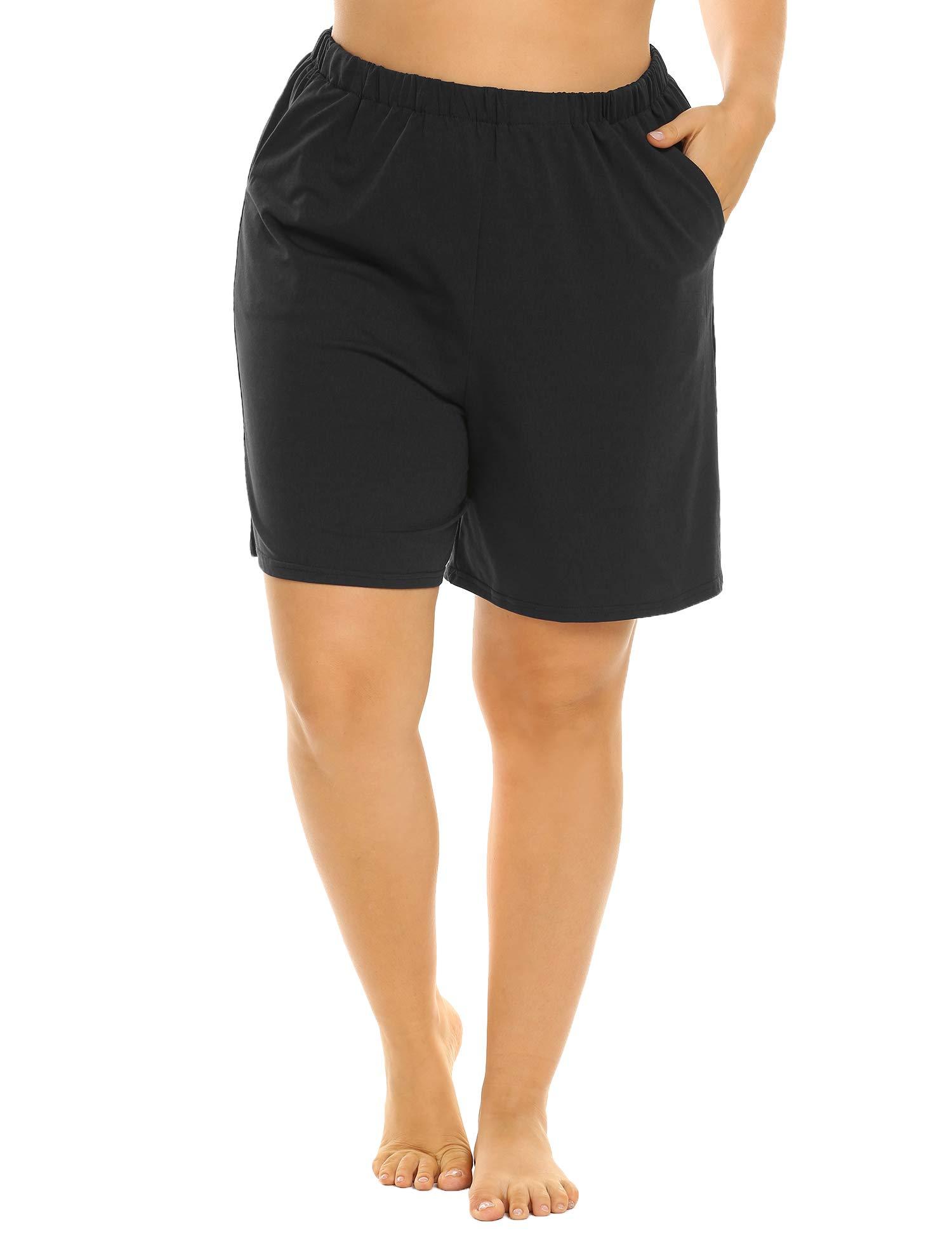 Involand Plus Size Shorts Pajama CottonShorts Lounge Shorts Sleep Shorts with SidePockets for Women