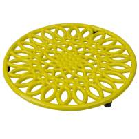 Home Basics Sunflower collection, Heavy Duty Cast Iron Trivet, Elevated base Kitchen Countertop & Dinning Room Table, (3, YELLOW)